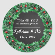 Christmas Wreath | Chalkboard Wedding Thank You Classic Round Sticker
