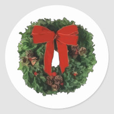 Christmas Wreath Classic Round Sticker at Zazzle