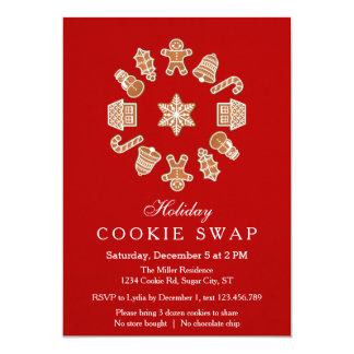 Christmas Wreath Cookie Swap Invitation