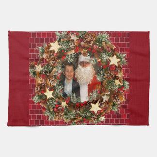 Christmas Wreath Custom Photo Kitchen Towel