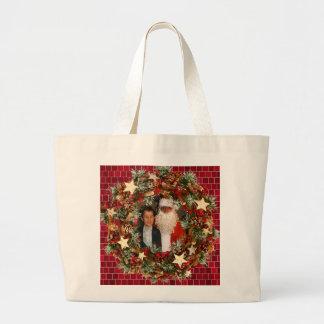Christmas Wreath Custom Photo Large Tote Bag