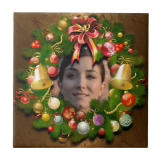Christmas Wreath Customized With Your Photo Ceramic Tile