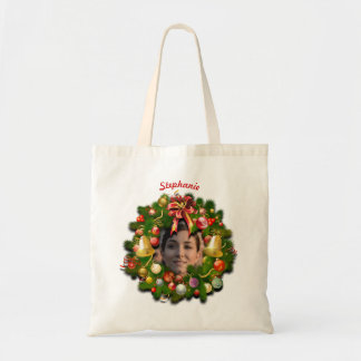 Christmas Wreath Customized With Your Photo Inside Tote Bag