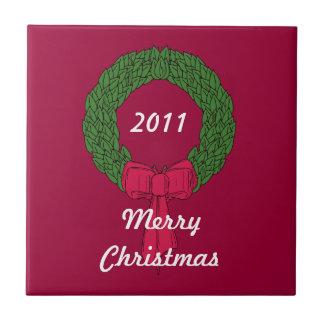 Christmas Wreath Dated Tile