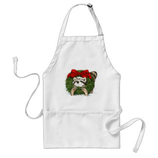 Christmas Wreath Decoration And Raccoon Adult Apron