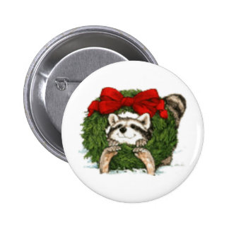 Christmas Wreath Decoration And Raccoon Pinback Button