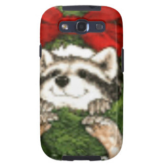 Christmas Wreath Decoration And Raccoon Samsung Galaxy S3 Case