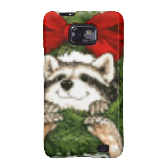 Christmas Wreath Decoration And Raccoon Galaxy S2 Cover