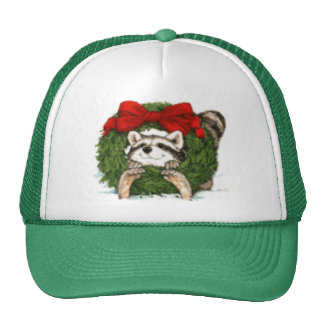 Christmas Wreath Decoration and Raccoon Mesh Hats
