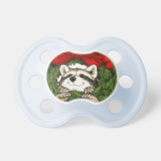 Christmas Wreath Decoration And Raccoon Pacifier