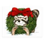 Christmas Wreath Decoration And Raccoon Postcards