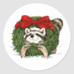 Christmas Wreath Decoration And Raccoon Stickers