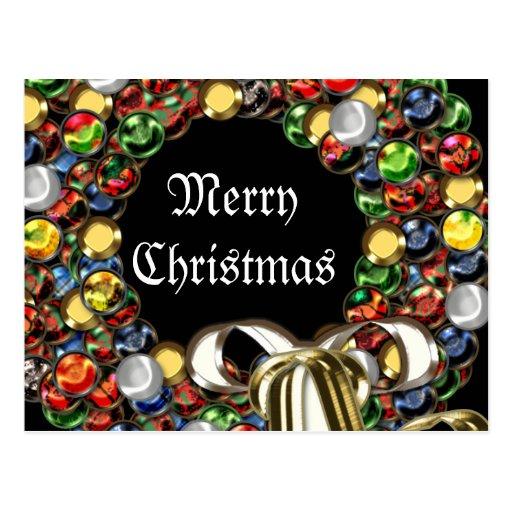Christmas wreath design postcard
