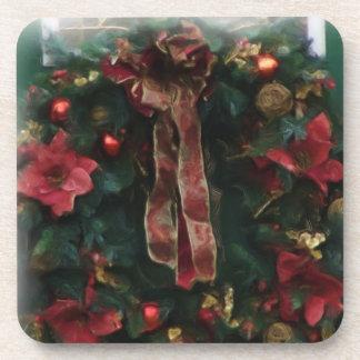 Christmas wreath digital oil painting effect coast drink coaster
