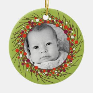 Christmas Wreath: Double-Sided Ceramic Ornament