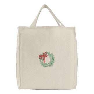 Christmas Wreath Embroidered Bag