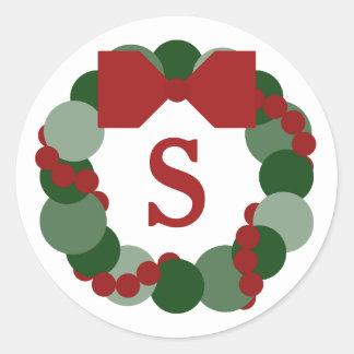 Christmas Wreath Envelope Seals, Custom Monogram Classic Round Sticker