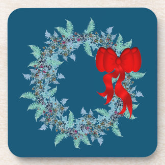 Christmas Wreath Ferns Floral Flowers Cork Coaster