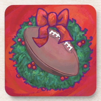 Christmas Wreath Football on Red Beverage Coaster