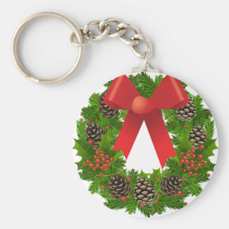 Christmas Wreath for the Holidays Basic Round Button Keychain