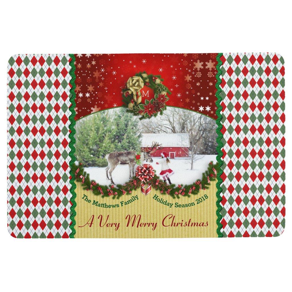 Christmas Wreath Garland Snowflakes Custom Frame Floor Mat
