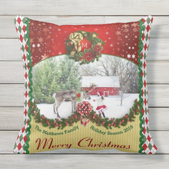 Christmas Wreath Garland Snowflakes Custom Frame Throw Pillow