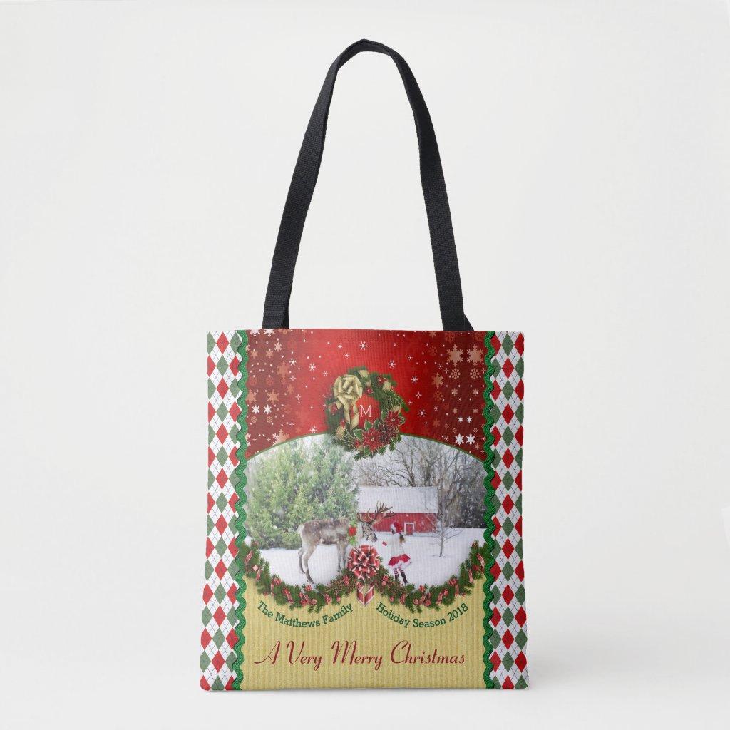 Christmas Wreath Garland Snowflakes Custom Frame Tote Bag