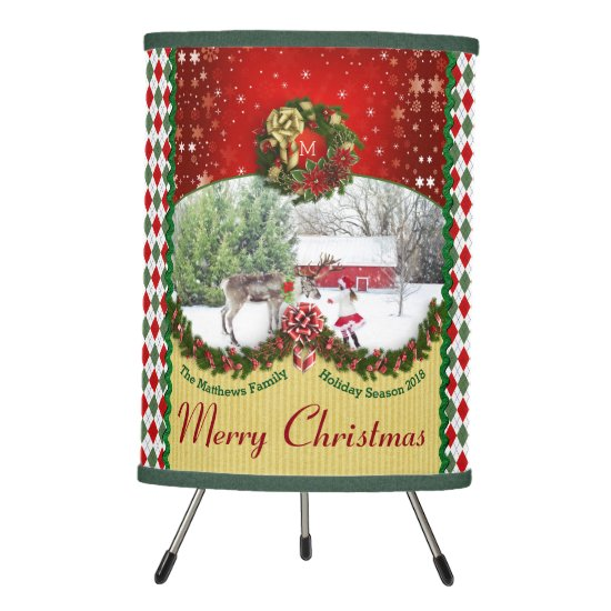 Christmas Wreath Garland Snowflakes Custom Frame Tripod Lamp
