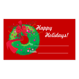 Christmas Wreath Gift Tag Business Card