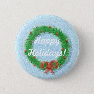 Christmas Wreath Gift Tag Button