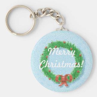 Christmas Wreath Gift Tag Keychain