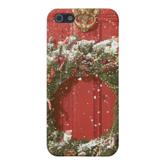 Christmas wreath hanging on a door covers for iPhone 5