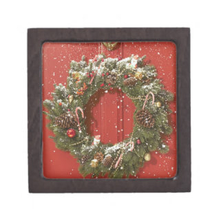 Christmas wreath hanging on a door premium gift boxes