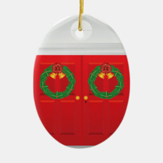 Christmas Wreath Hanging on Double Red Door Ceramic Ornament