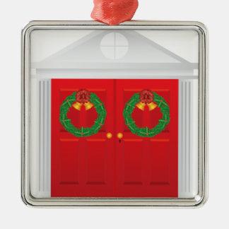 Christmas Wreath Hanging on Double Red Door Metal Ornament