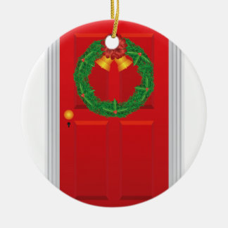 Christmas Wreath Hanging on Red Door Illustration Ceramic Ornament