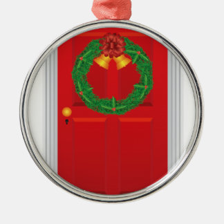 Christmas Wreath Hanging on Red Door Illustration Metal Ornament