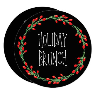 Christmas Wreath Holiday Brunch Card
