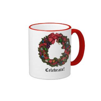 Christmas Wreath Holiday Celebration Mug