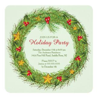 "Christmas Wreath Holiday Party Invitation 5.25"" Square Invitation Card"