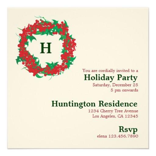 Christmas Wreath Holiday Party Invitation Card : Zazzle