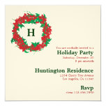 Christmas Wreath Holiday Party Invitation Card
