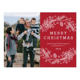 Christmas Wreath Holiday Postcard - Berry