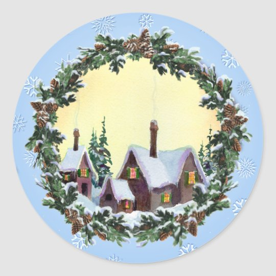 CHRISTMAS WREATH & HOUSES by SHARON SHARPE Classic Round Sticker
