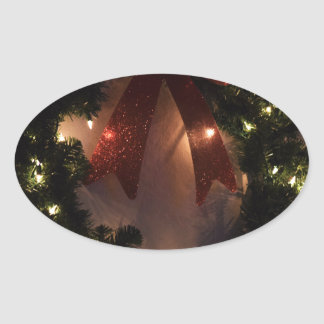 Christmas Wreath in Holiday Glitter and Glow Oval Sticker