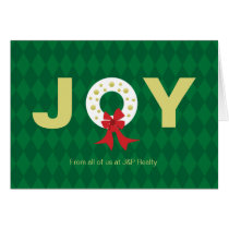 Christmas Wreath Joy Corporate Holiday Thank You Card