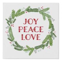Christmas Wreath Joy Peace Love Holiday Faux Canvas Print