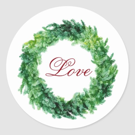 Christmas Wreath / Love / Holiday Sticker