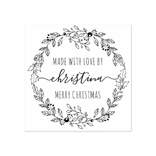 Christmas Wreath Made With Love Personalized Rubber Stamp