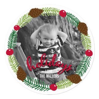 Christmas Wreath Modern Holiday Photo Card